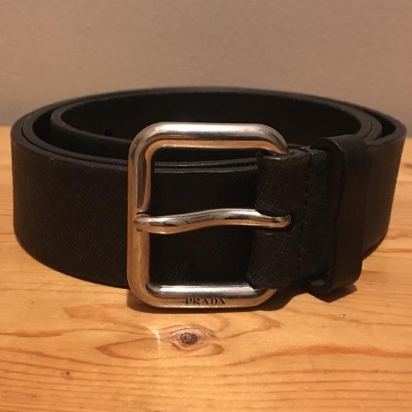 018b3c43f94b PRADA Black Men s Leather Belt Size 44 110. M 5a62db3472ea885500d459cd